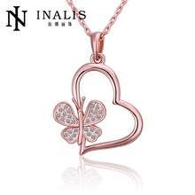 N504 Hot Sale Women Necklace Heart Rhinestone 18K Gold Plated Austrian Crystal Pendant Necklace Jewlery Vintage Statement collar