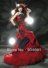 Black Bridal Wedding Gown Gothic Trumpet Gown Custom Red Taffeta Purple Lace Wedding Dress Plus Size Vestidos De Noiva W15311(China (Mainland))