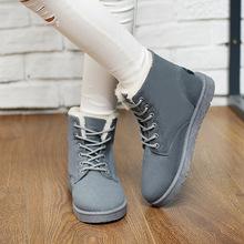 2016 otoño y el invierno de la nieve botas planas con las mujeres, además de terciopelo grueso cordón zapatos esmerilado botas Duantong(China (Mainland))