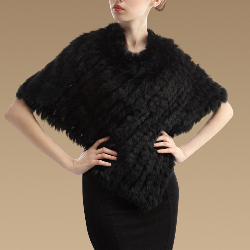 Winter Women Ladies Real Fur Handmade Knitted Shawls Pashmina Wrap Scarf Female Party Pullover(China (Mainland))