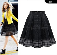 Women Organza Midi Skirts New 2016 Summer Style Elastic High Waist Zipper Ladies Skirt Female Pleated A Line Tulle Skirts