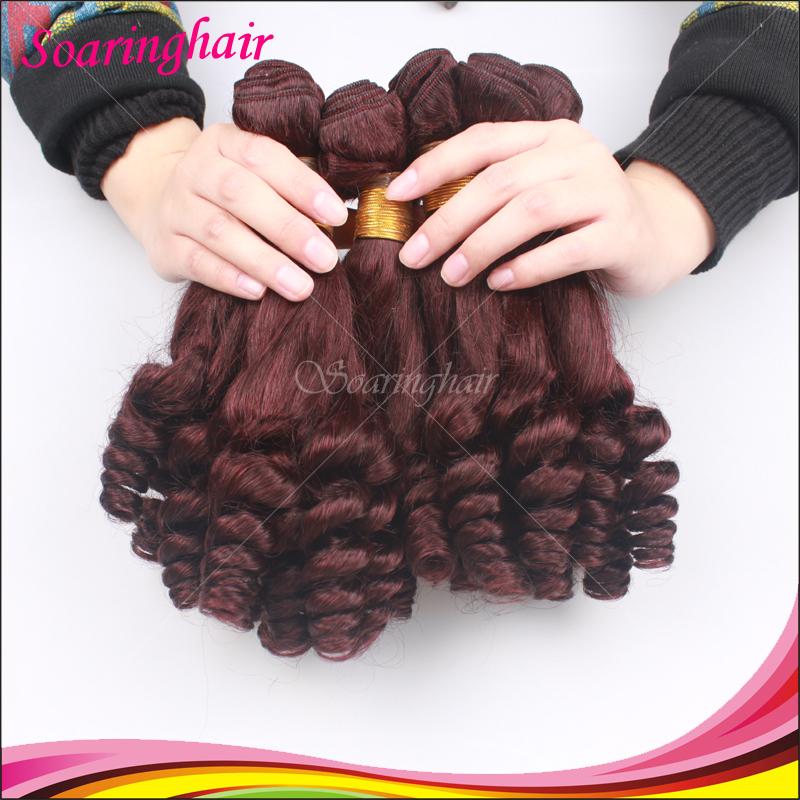 99J Burgundy Hair Weave Aunty Funmi Hair 3pcs Bresilienne Funmi Vierge Hair Weaves Tip Bouncy Curls 100% Humain Hair Weaves(China (Mainland))