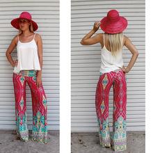 2016 Spring Summer Women's Fashion Pants Cargo Elastic High Waist Loose Cotton Trousers Wide Leg Pants Skirte Printed