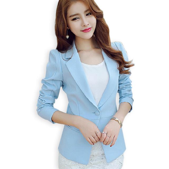 Осень синий офис пиджак женщины пиджаки и куртки одной кнопки верхней одежды пальто ...