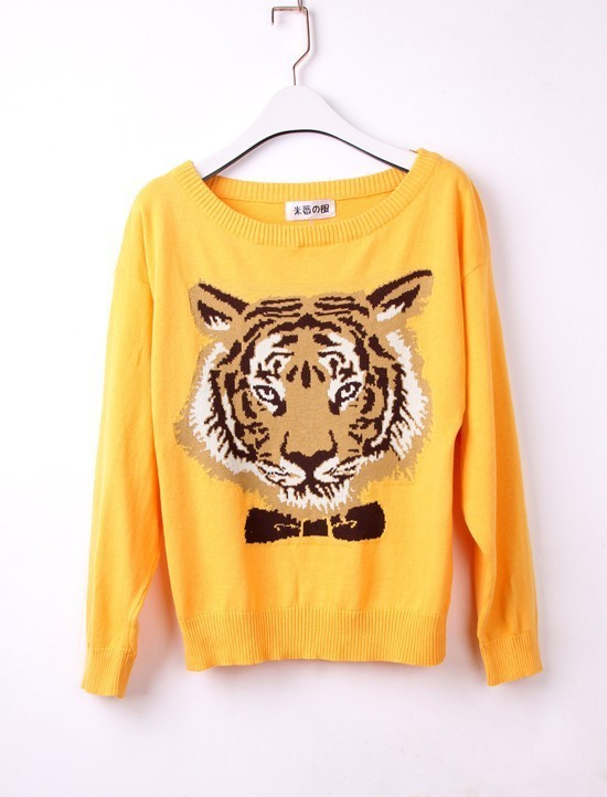 Womens Tiger Face Animal Print Knitted Pullover Jumper Casual Knitwear Sweater(China (Mainland))