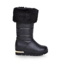 Las mujeres Zapatos de Invierno negro a prueba de agua 2016 del tobillo de las mujeres botas de nieve dama de algodón acolchado casuales al aire libre zapatos calientes grandes 10 11 12 42(China (Mainland))