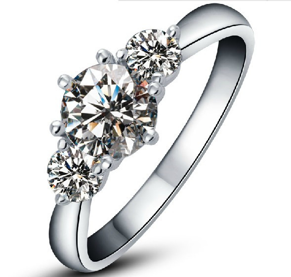 18K Jewelry Three Stone Ring 3.2CT Moissanite Verify Synthetic Diamond Engagement Jewelry Hearts and Arrows Moissanite Girl Ring(China (Mainland))