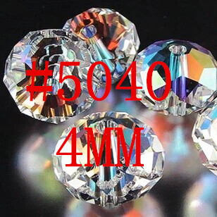 100Pcs/Lot 4mm 5040 AAA Top Quality Mixed Faceted Glass Crystal Rondelle Spacer Beads For Jewelry Making Free Shipping #219-236(China (Mainland))