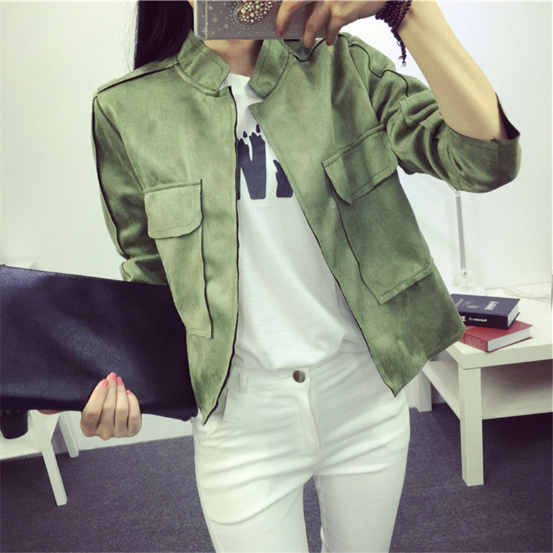 2017 Spring New Casual Fashion Pocket Artificial Suede Leather Slim Women Short Jacket Thin Coat Chaquetas Mujer Outwear(China (Mainland))