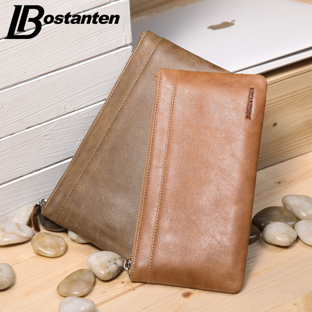 BOSTANTEN New Men Leather Wallet Brand Vintage Luxury Male Long Purses Cell Phone Wallet Clutch Slim Mens Wallet Leather Genuine(China (Mainland))