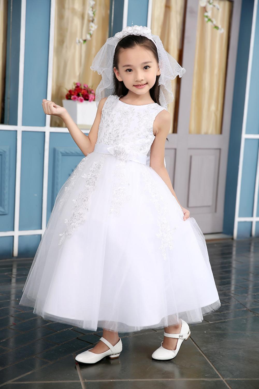 Здесь можно купить  100-150cm Half Sleeve Tutu Beading Dresses Performance Children Big Girls Lace Wedding Dressy Bowknot Dress Kids Princess Dress  Детские товары