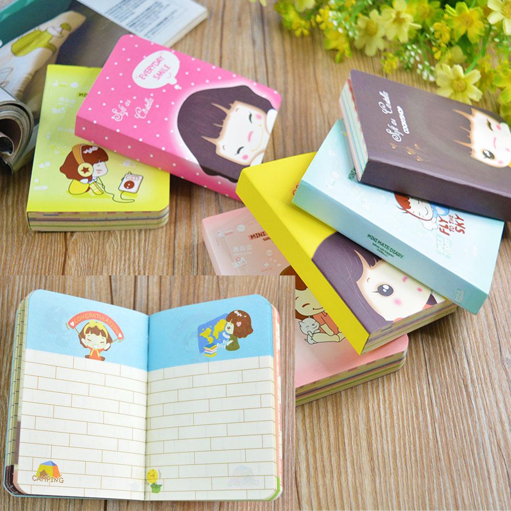 """Cookie Girl"" Mini Cute Diary Planner Pocket Journal School Study Notebook Korean Agenda Notepad(China (Mainland))"