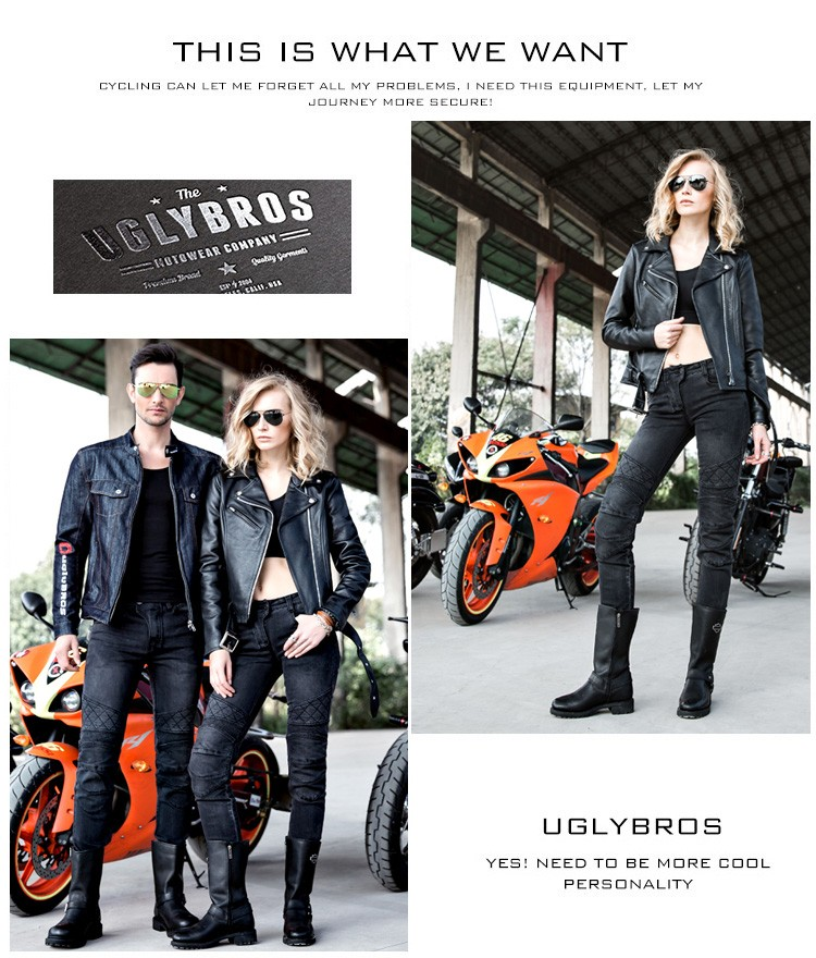 2016 The newest Uglybros UBS 09 Motorcycle ride jeans with ms ms ms gear ride jeans jeans trousers women pants