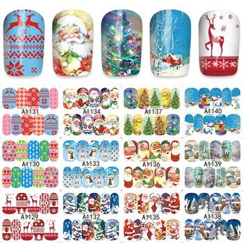 WUF 48 Sheets Christmas Mixed Decals Nail Art Water Transfer Stickers Full Wraps Santa/Snowflake Nail Tips DIY A1129-1176
