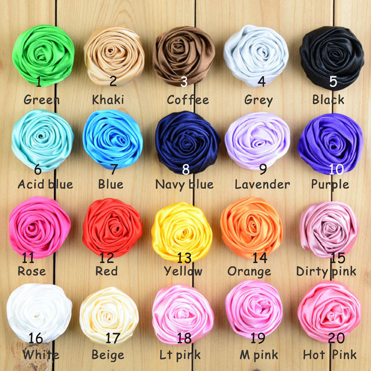 Rolled Rosettes Grab Bag Satin Flower Grab Bag Rosettes Fabric Flower Boutique DIY Flowers for Headband Girls Hair Accessories(China (Mainland))
