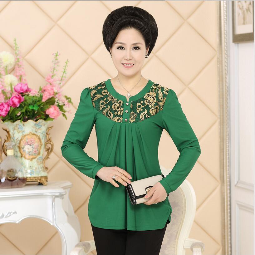 2016 Spring/Summer Korea Fashion T-shirt Women Long Sleeve Loose Leisure Middle-aged T-shirts Tops Plus Size Women Clothing Q388(China (Mainland))