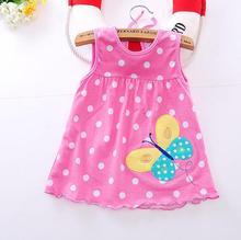 2016 new Cute Baby Girl Dress Cotton Dot Striped Slip Dress pear flower Children Kids Clothing 0-18M dress(China (Mainland))
