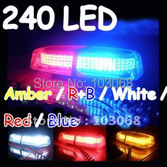 New 240 LED Mini Light Bar Amber / R+B / White / Red / Blue 7 Modes Emergency,Flash Strobe 20W Promotion!