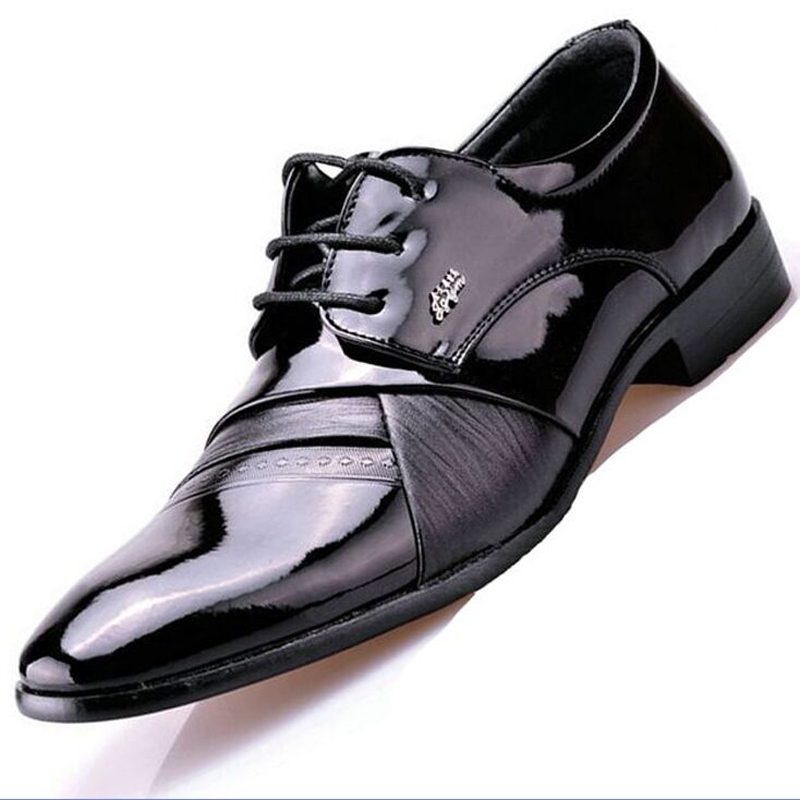 British Style Fashion Men's Wedding Oxford Shoes Male Office Pointed Toe Shoe Patent Leather Dress Shoes M1859(China (Mainland))