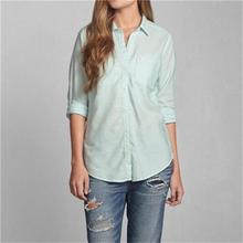 Light Green Womens Casual Shirts Long Sleeve Bodycon Ladies Casual Shirts with Double Pockets Cotton Material Hot Sale QR-0048(China (Mainland))