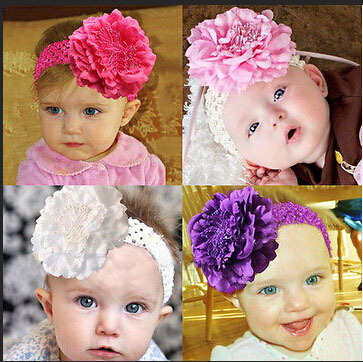 free shipping Cuty Baby Peony Flower Hair Clip with Stretchy Crochet Headband for Girl Pettiskirt A041(China (Mainland))