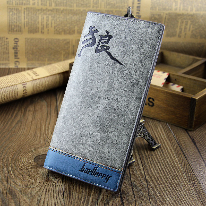 2015 New Arrival Baellerry Men's Fashion Long Wallet Chinese Character Men's Wallet Carteira Masculina(China (Mainland))