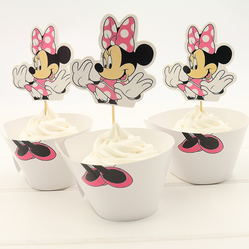 Minnie Cupcake Wrapper For Children Party Decoration Back to School Cupcake Toppers Paper Cake Boxes and Packaging Party Items(China (Mainland))