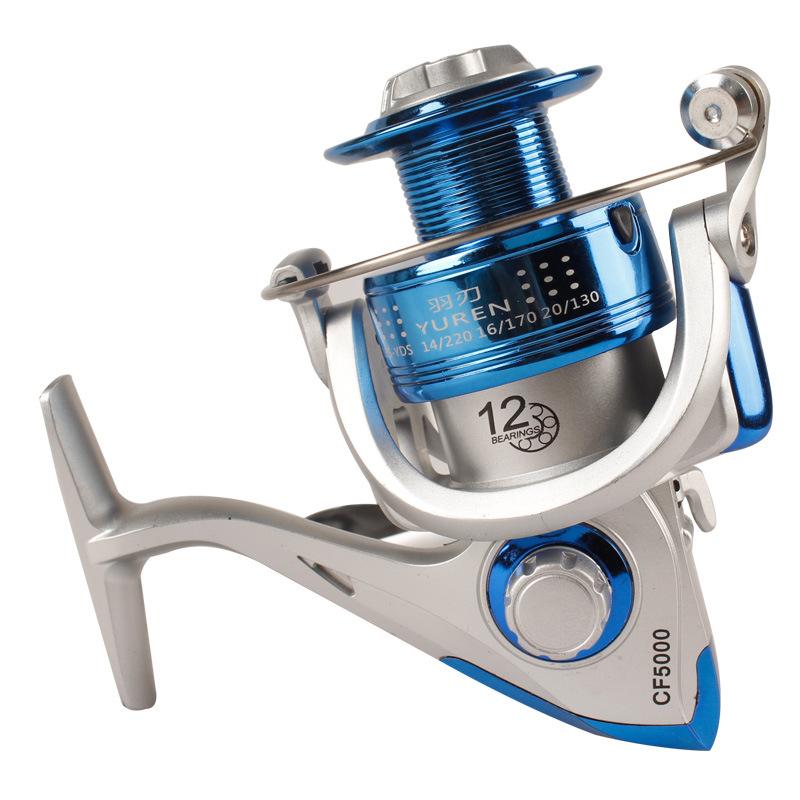 TAIYU Fishing Wheel Ratio 5.2:1 CF Series 10 Bearing Blue Electroplating Line Cup Fishing Lures Spinning Reel(China (Mainland))