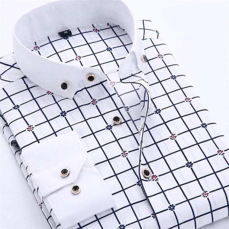 Men Dress Shirt 2016 Spring New arrival Button Down Collar High Quality Long Sleeve Slim Fit Male Business Shirts M-5XL YN02612