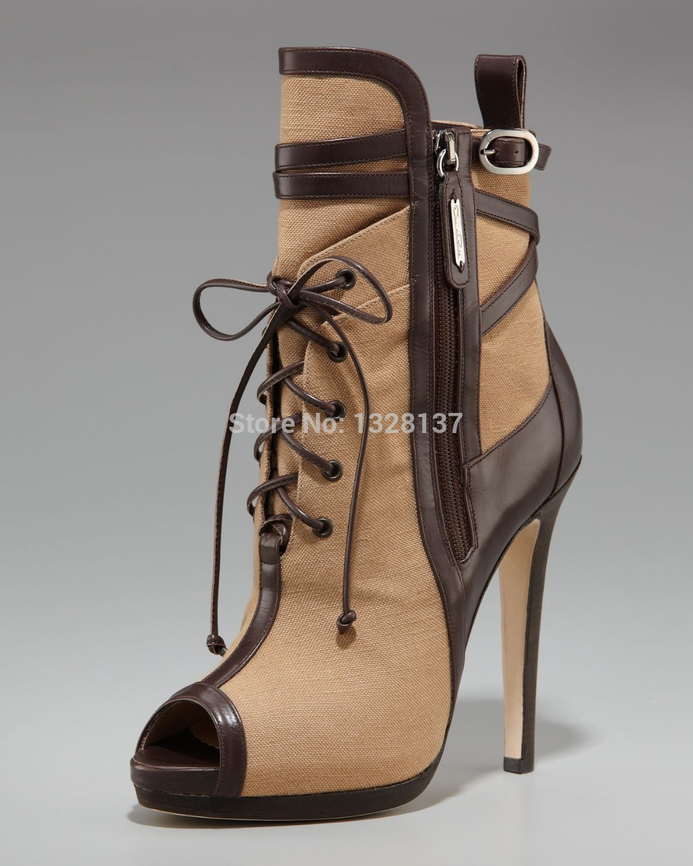 Fashion Canvas Thin Heels Brown Lace Up Platforms Rubber Zipper Peep Open Toe 2015 Brand Ankle Boots For Women botas femininas(China (Mainland))