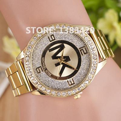 2015 New Arrival Brand Fashion Men/Women Watches Ladies Quartz Wristwatch Fashion Female Rhinestone Gold Women Dress Watches 1-1(China (Mainland))