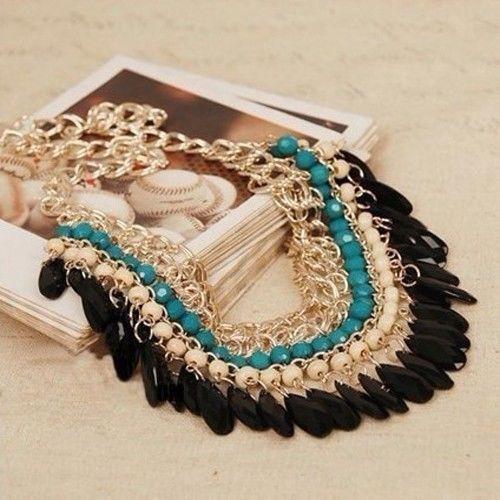 New Fashion Charm Jewelry Pendant Chain Crystal Choker Statement Bib Necklace(China (Mainland))