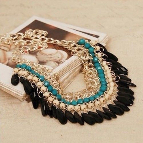 New Fashion Charm Jewelry Pendant Chain Crystal Choker Statement Bib Necklace(China (Mainland))