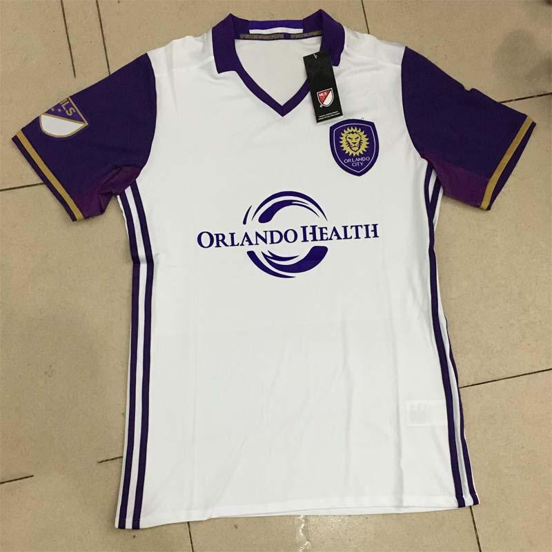 2016 2017 New Orlando Soccer jerseys Away White 2016 17 Orlando City Football Kits Thai top quality(China (Mainland))