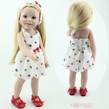Новый дизайн 2016 Симпатичные Super Моделирование Реалистичные американский Винил 18 дюймовый Кукла принцесса Девушка игрушки подарок для детей улыбаться девушка