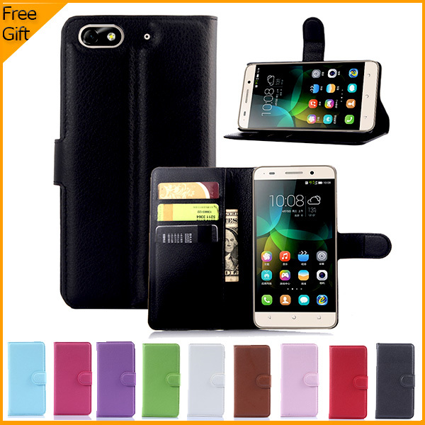 Luxury Flip Wallet PU Leather Case Cover For Huawei Honor 4C Cover Case Cell Phone Case Back Cover With Card Holder Black Withe(China (Mainland))