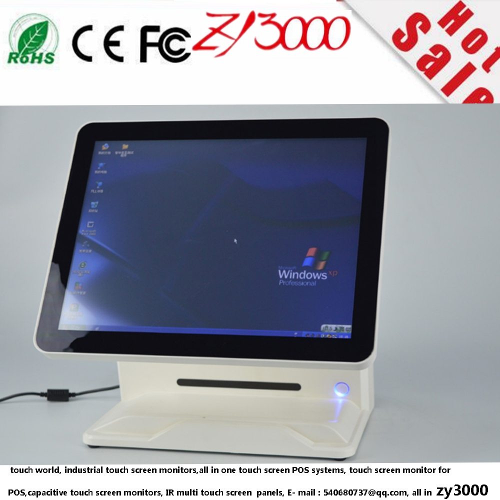 Q8 white 1* customer 1*display 1037u 4G ram 64G SSD USB resistivive touch screen computer all in one touch screen POS system(China (Mainland))