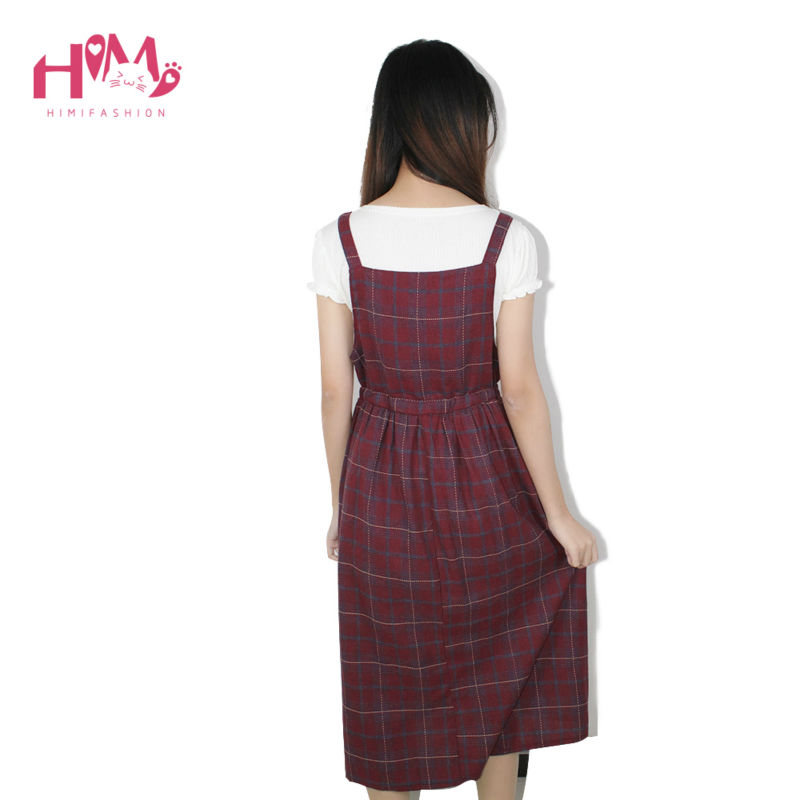Vintage autumn new collection plaid non sleeve dress mori girl fresh square collar all match spaghetti strap women dress5
