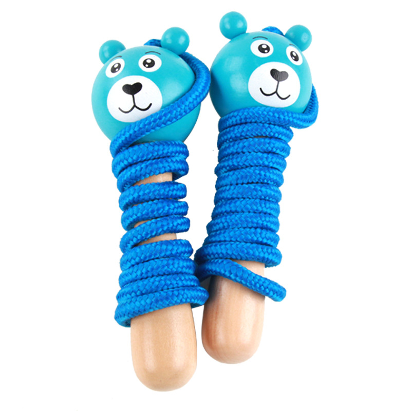 Free shipping Wooden cute little animal handle Jump rope, colorful rope skipping, Kids Early Head Start Training toys(China (Mainland))
