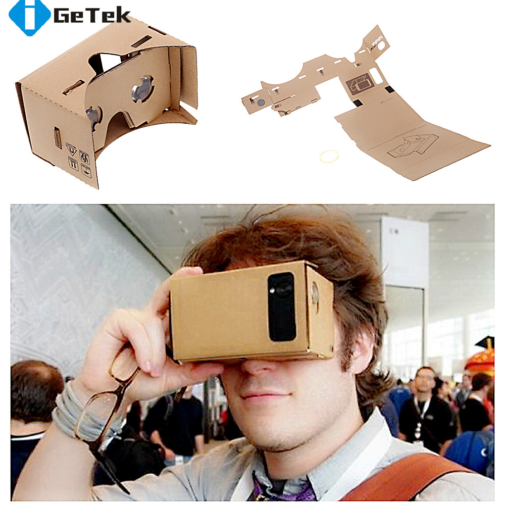 "High quality DIY Google Cardboard VR Box Virtual Reality Glasses VR Mobile Phone 3D Glasses For 5.0"" Screen Google VR 3D Glasses(China (Mainland))"