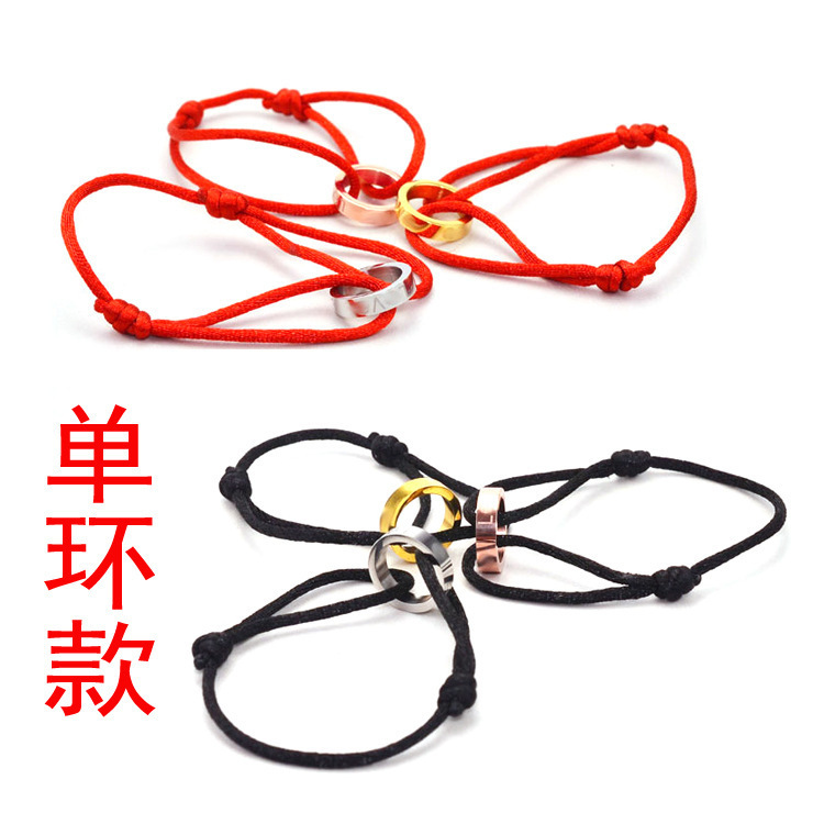 Special offer single loop Red Rope Bracelet lovers hand bangle red line multicolor year of fate.(China (Mainland))