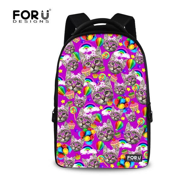 Kawaii Women 3D Animal Backpack Children School Bags Cat Printing Women's Travel Bag Schoolbag for Girls Students Book Bags
