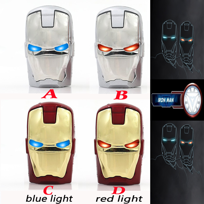 LED Iron Man pendrive USB Flash Drive Pen Drive usb cable Flash Card Memory Stick Drives 64GB 32GB 16GB 8GB 4GB Fashion Avengers(China (Mainland))