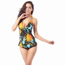 Elegant Women's Tankinis Set Swimsuit Push-up Padded Stripe Tank Top High Waist Bottom Set Bathing Suit Outdoor Beachwear