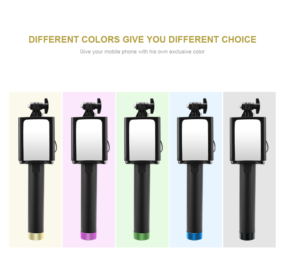 image for Wired Handheld Selfie Stick Monopod With Mirror Mini Fashion Self-time