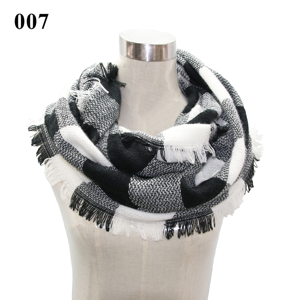 VNFNMI Plaid & Tartan Infinity Scarf Women Autumn/Winter Warm Knitted Layered Fringe Tassel Neck Circle Shawl Snood Scarf Cowl