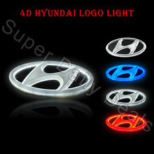 4D Led Cold Light Red White Blue Waterproof Car Styling Parking Logo Rear Badge Emblem Sticker Light for Hyundai Many Series(China (Mainland))