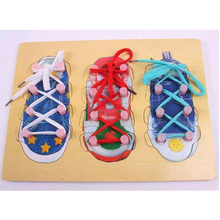 Early childhood educational toys wooden toy puzzle board school shoes with socks toy shoes with board, learning &education toy(China (Mainland))