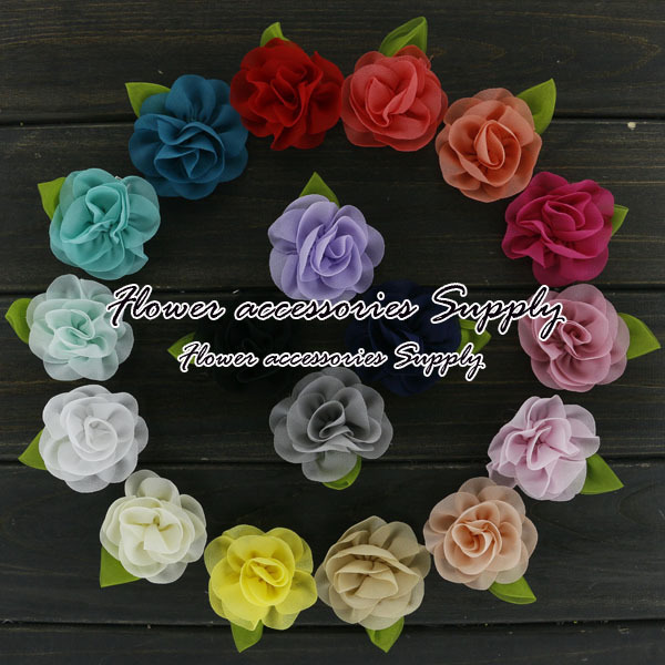 """Wholesale100pcs/lot 2.3-2.5"""" Korean Chiffon Flower With Leaf Rolled Rosette Flowers Boutique Hair Flower Wedding Accessories.(China (Mainland))"""