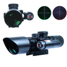 3-10x40 Tactical Rifle Scope Red Laser Dual illuminated Mil-dot w/ Rail Mounts Combo Airsoft Weapon Sight Hunting(China (Mainland))